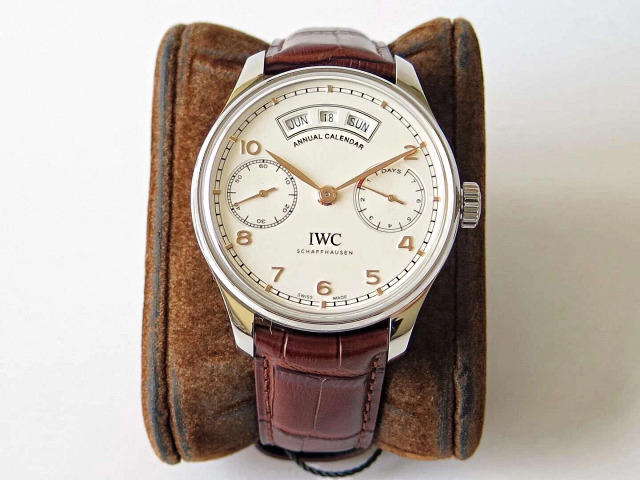 Replica IWC Portuguese Annual Calendar Brown Leather Strap