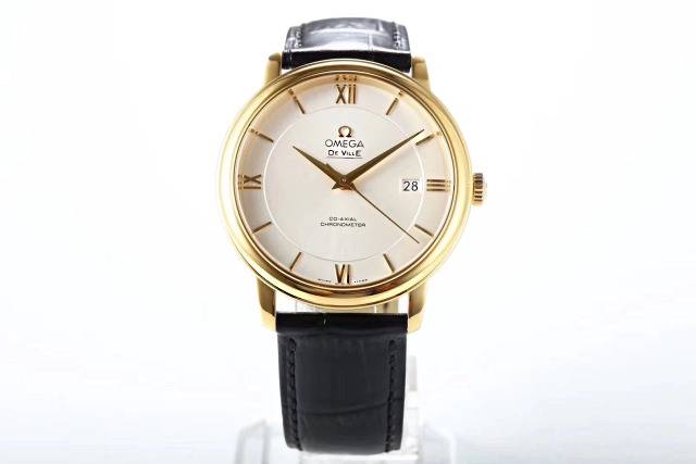 Replica Omega De Ville Yellow Gold Black Leather