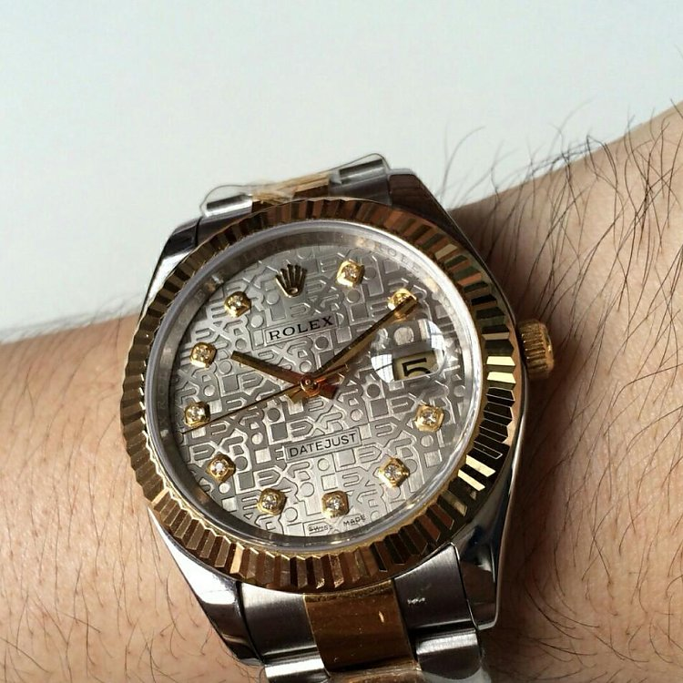 Replica Rolex Datejust Two Tone Patterned Dial