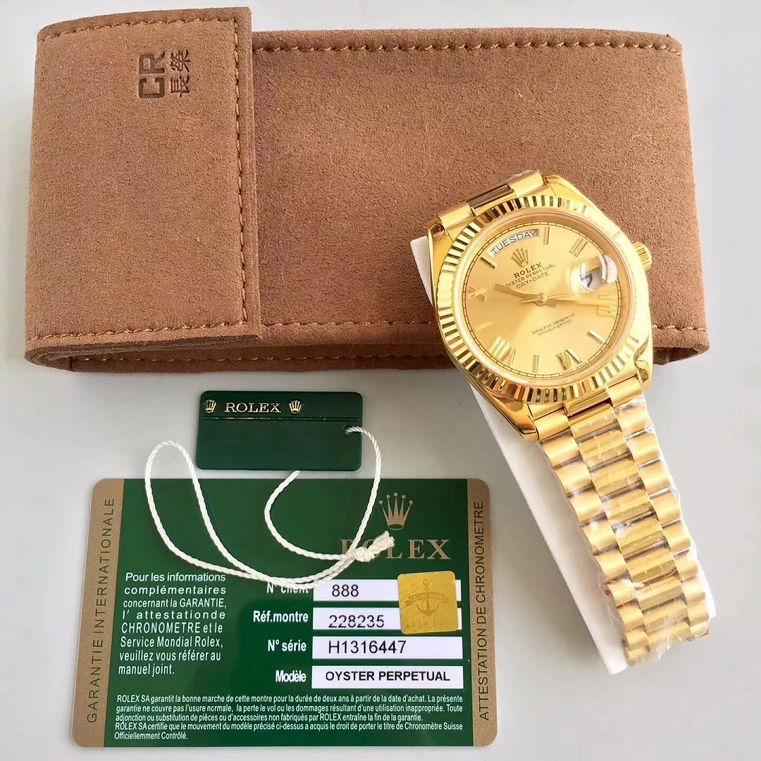 Replica Rolex Day Date 40mm Full Yellow Gold Watch From CR Factory