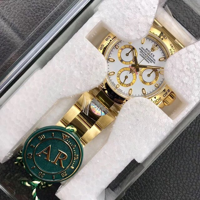 AR Factory V2 Edition Replica Rolex Daytona 116508 Yellow Gold Watch with Clone 4130 Movement