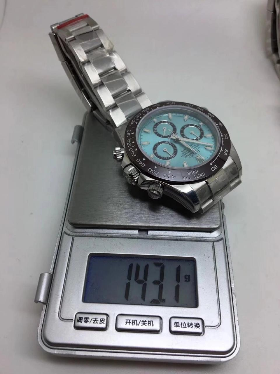 Replica Rolex Daytona Ice Blue Weight