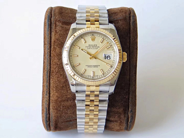 ARF Factory V2 Edition Replica Rolex Datejust 36mm Two Tone Yellow Gold with Clone SH3135 Movement