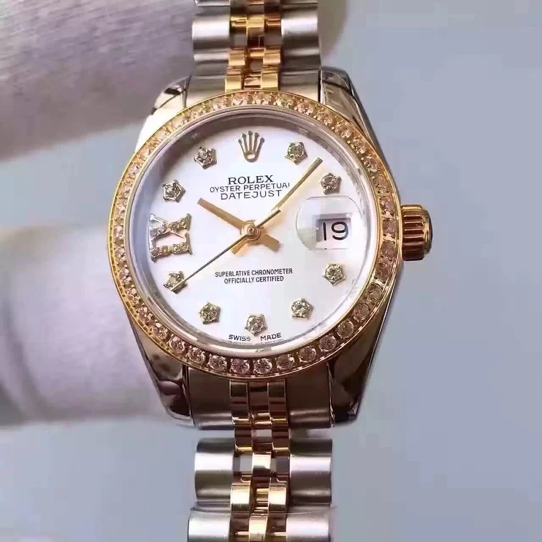 Two Tone 33mm Lady Rolex Datejust MOP White Dial