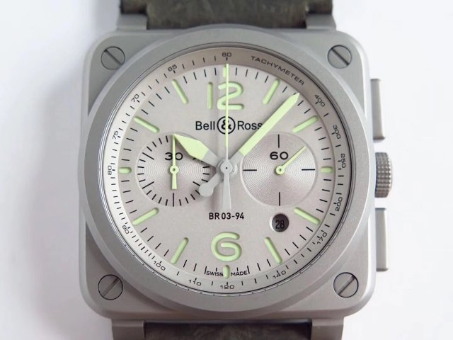 Replica Bell Ross BR03-94-GR-ST/SCA Horolum Chronograph with Free Nylon Strap Guider